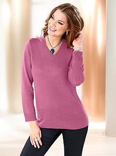 Ribbed Hem V-Neck Sweater product image (281496.PURP.3.1_WithBackground)