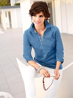 Stripe Accent 3/4 Sleeve Polo Top product image (285254.BL.1.10_WithBackground)