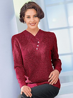 Ribbed V-Neck Sweater product image (288754.BORD.2.8_WithBackground)