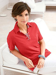Stripe Accent Polo Top product image (299770.CHRY.1.1_WithBackground)