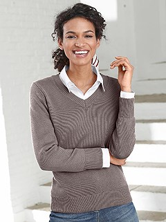 Ribbed V-Neck Sweater product image (303221.TPMO.2.119_WithBackground)