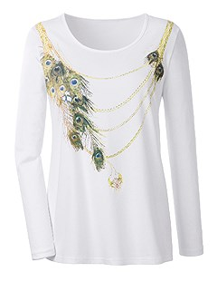Peacock Print Long Sleeve Top product image (335242.WHPR.1.8_Ghost)