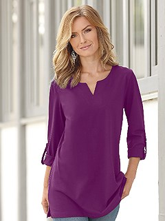 Casual Tab Sleeve Tunic product image (344111.BLKB.4.81_WithBackground)