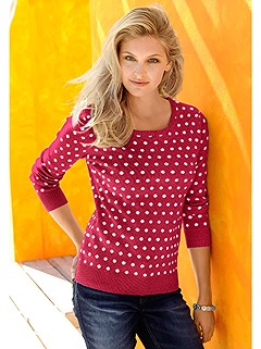 Polka Dot Jacquard Knit Sweater product image (345311.RDDT.2.10_WithBackground)