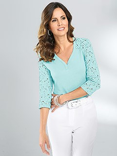 3/4 Lace Sleeve Top product image (345436.AQ.1.1_WithBackground)