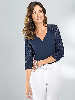 3/4 Lace Sleeve Top product image (345436.NV.2.1_WithBackground)