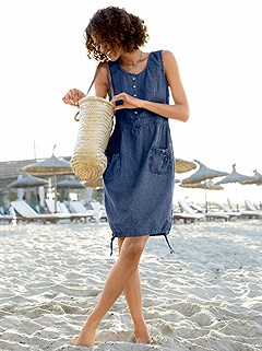 Denim Look Drawstring Dress product image (349372.BLUS.1.HE)