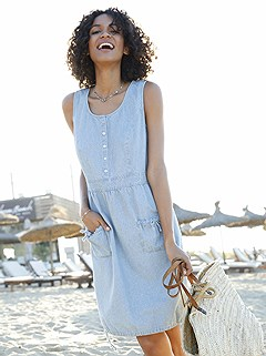 Denim Look Drawstring Dress product image (349372.FBP7)