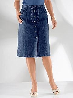 Tie Waist Denim Skirt product image (349410.BLUS.1.12_WithBackground)