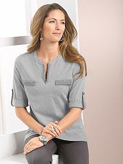 Round Neckline Tab Sleeve Top product image (353652.GYMO.2.1)