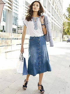 Button Down Denim Skirt product image (356892.BLUS.2.5)
