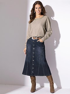 Button Down Denim Skirt product image (356892.DKBL.2.17)