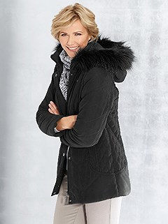 Faux Fur Trim Hooded Jacket product image (360360.BK.2.1_WithBackground)