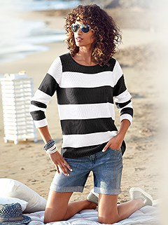 Wide Striped Sweater product image (362238.BKWH.1.HE)