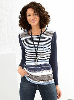 Contrast Sleeve Print Top product image (365061.NVST.1.HE)
