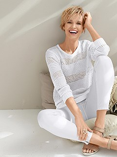 Ribbed And Knitted Sweater product image (368881.WH.1.1_WithBackground)