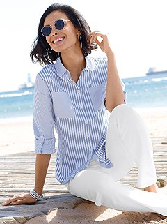Striped Button Up Blouse product image (372285.BLST.1.508_WithBackground)