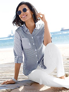 Striped Button Up Blouse product image (372285.NWPA.5.4200_WithBackground)