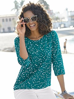 3/4 Length Sleeve Polka Dot Top product image (373119.TQMU.1.1_WithBackground)