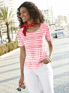 Striped Rounded Neckline Top product image (374419.COMU.1.2_WithBackground)