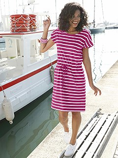Striped Drawstring Waist Dress product image (378018.FSST.1.1_WithBackground)