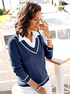 Blouse Collar Layered Look Sweater product image (381078.NWPA.1.2_WithBackground)