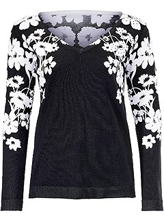 Floral Print Sweater product image (384460.BKWH.HE)