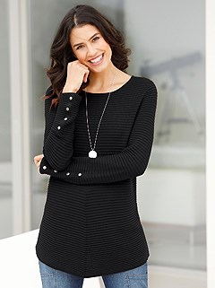 Tapered Hem Ribbed Sweater product image (388046.BK.1.1_WithBackground)