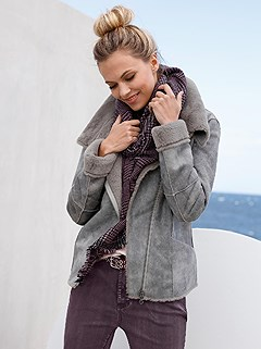 Plush Faux Leather Jacket product image (389880.GY.1.HE)