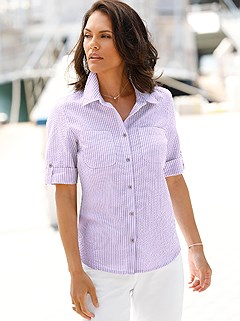 Seersucker Fabric Button Up Blouse product image (390284.LIST.2.1_WithBackground)
