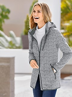 Mottled Knit Fleece Cardigan product image (393439.CHAR.1.1_WithBackground)