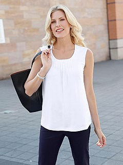 Gathered Neckline Tank Top product image (394125.WH.2.2_WithBackground)