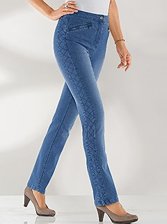 Diamond Stitch Accent Jeans product image (394851.BLUS.3.1_WithBackground)