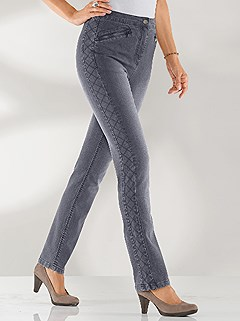 Diamond Stitch Accent Jeans product image (394851.GYDE.2.1_WithBackground)