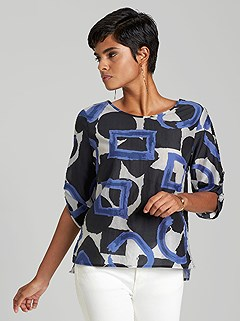 Geometric Tab Sleeve Blouse product image (395025.WHPR.1)