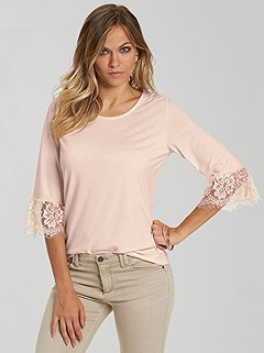 Lace Trim 3/4 Sleeve Top product image (395060.ROSE.01)