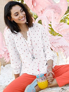 Flamingo Print Blouse product image (395473.WHPR.1)