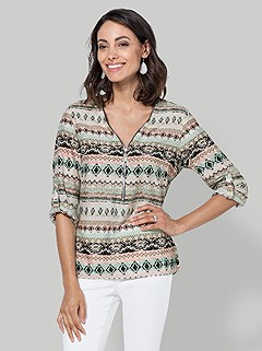 Long Sleeve All Over Patterned Blouse product image (395824.MTPR.3.6)