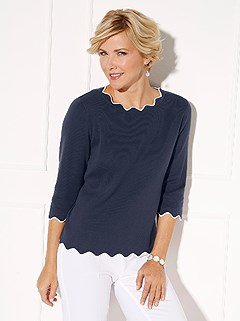 Contrasting Wavy Hem Sweater product image (395837.NV.1.20_WithBackground)