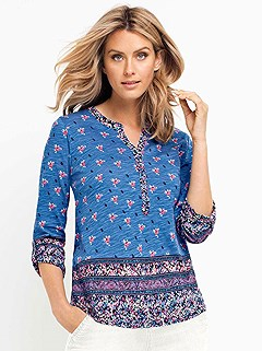 3/4 Sleeve Floral Print Top product image (397359.BLPR.001)