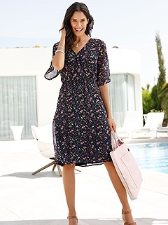 Butterfly Sleeve Print Dress product image (397449.YLMU.1)