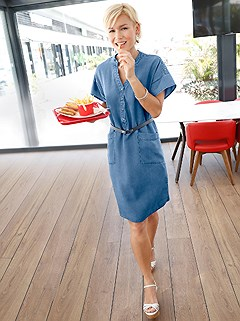 Denim Look Flowy Midi Dress product image (398131.DEBL.2.1_WithBackground)
