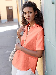 Collared Linen Blouse product image (398942.TC.1)
