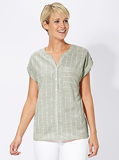 Striped Linen Effect Blouse product image (403166.GRST.4.2_WithBackground)