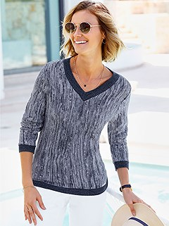 Textured V-Neck Sweater product image (403380.NVWH.1.P)