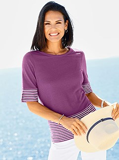 Short Sleeve Striped Hem Top product image (403407.FSMO.1.1_WithBackground)