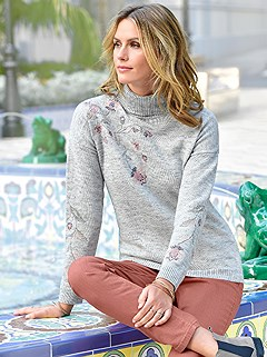 Floral Turtleneck Sweater product image (406206.GYMO.1.1)