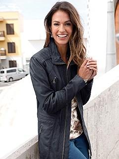 Panel Detail Leather Jacket product image (406465.NV.1.2)