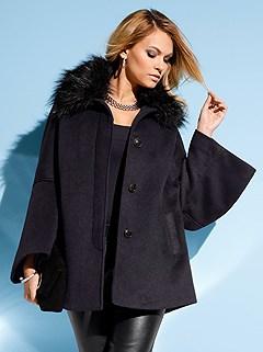 Detachable Faux Fur Collar Jacket product image (406627.BK.1.P)