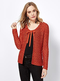 Textured Tie Front Cardigan product image (406684.OR.3.2)